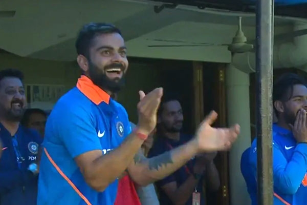 India Vs Australia : Kohli's Reaction After Jasprit Bumrah;s First International Six